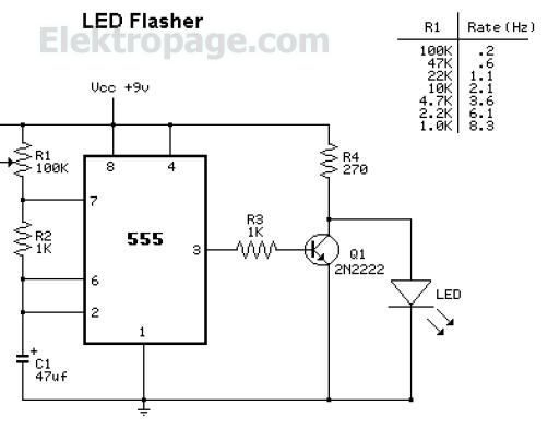 lm555 led flasher circuit lm555 led flasher circuit - 555-556 timer info elektropage