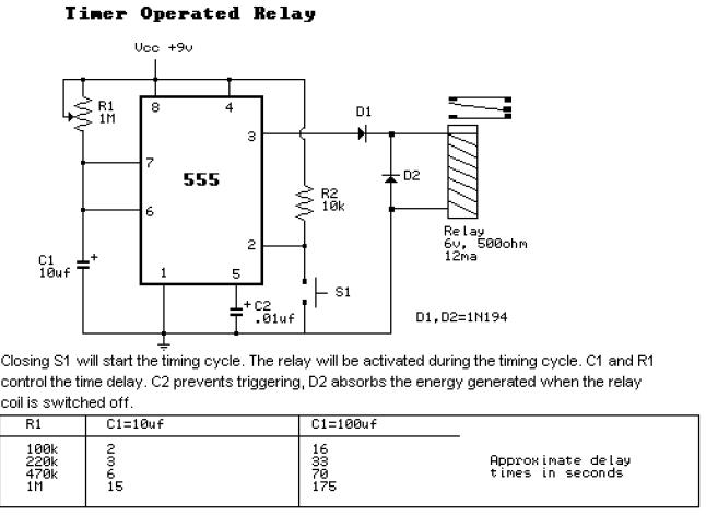 555_timer_operated_relay  Timer Internal Schematic on chip toy organ, geiger counter, charge controller,