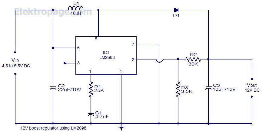 12V Boost Regulator Circuit - Schematic Circuits Elektropage