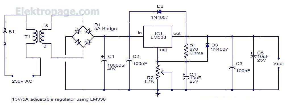 Adjustable Power Supply Schematic Diagram