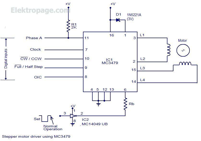 Stepper Motor Driver Using Mc3479 - Schematic Circuits