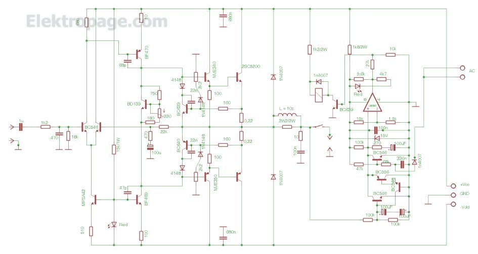 100w power audio amplifier circuit diagram  azk51