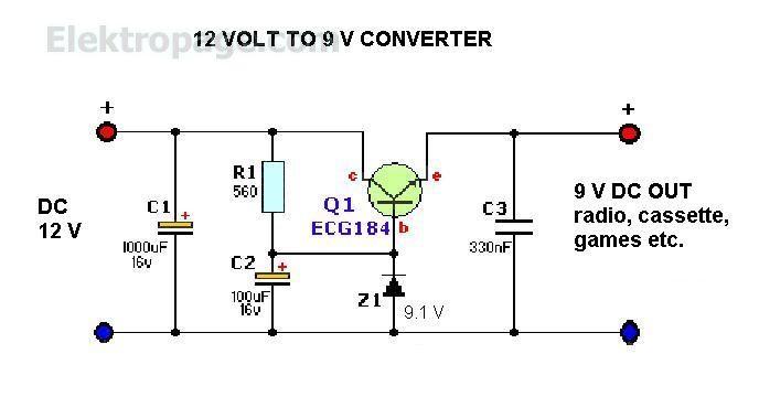 12Vto 9V converter Circuit schema