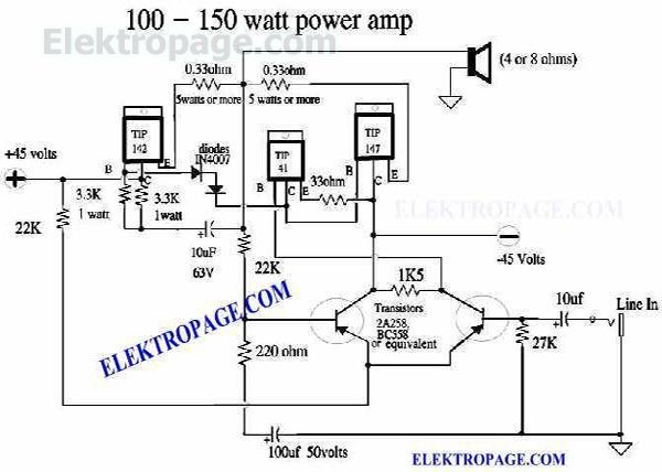 100 watt power amplifier schematic circuits 100 watt power amplifier with power supply circuit