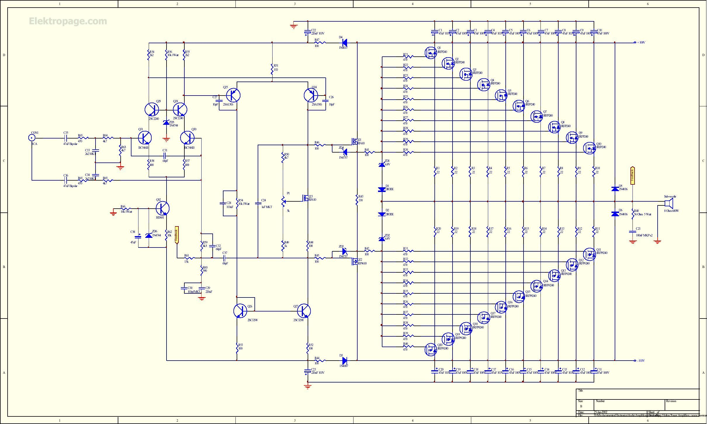 1kw Rms Mosfet Amplifier Shematic 1000w Power Circuit Diagram Electronic Circuits To View Full Picture Of The Schematic