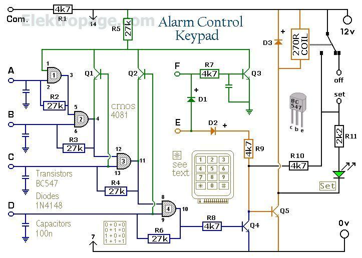 Enhanced 4 Digit Alarm Keypad schematic Circuit
