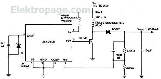 Low voltage battery to 5 V 8FC87