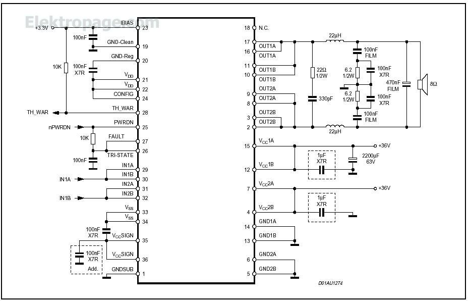 sta505 2x50 watt audio amplifier sta505 2x50 watt 40v 3 5a