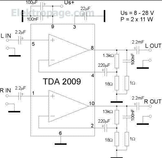 TDA 2009 2X11 watt Amplifier