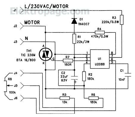 U208 TIC236 220v Ac Motor Controller - Schematic Circuits ... on