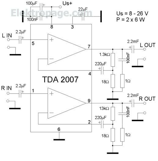 TDA2007 2x 6 watt Amplifier schematic