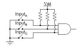 Pullup resistors for a 3-input CMOS AND gate