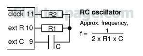 4060 RC oscillator connections