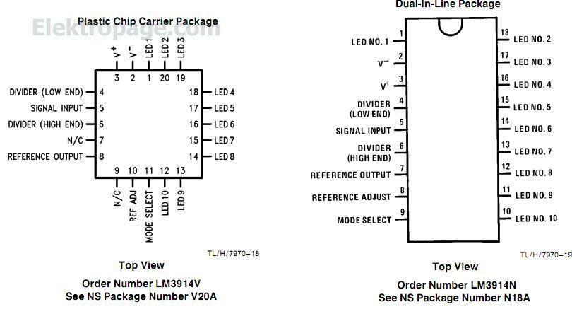 Lm3914 Ic Pinout Connection Diagram - Integrated Circuits Elektropage