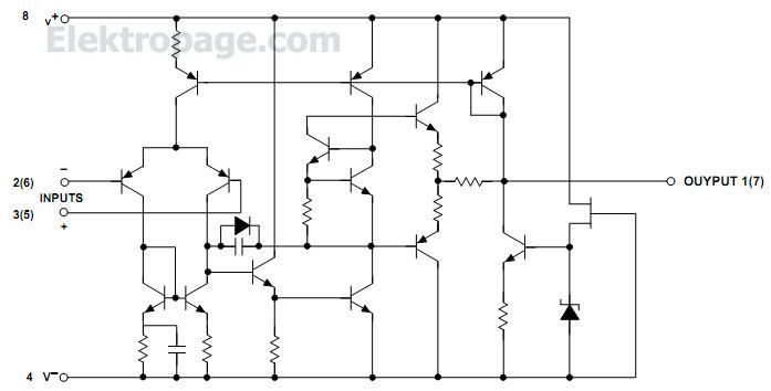 ne  sa  se4558 pinout connection diagram - integrated circuits elektropage