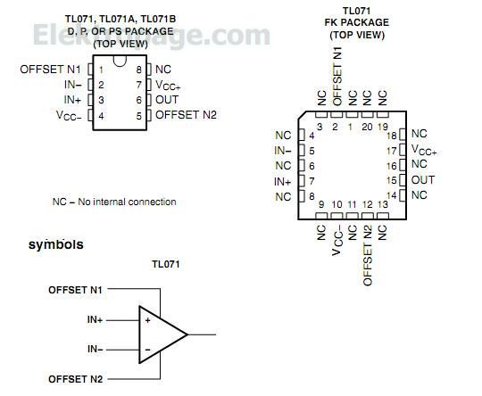 Tl071 Tl071 Pinout Connection Diagram And Pping Functions