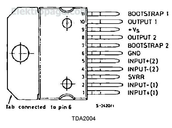 Tda2004 Pinout And Connection Diagram - Integrated Circuits Elektropage