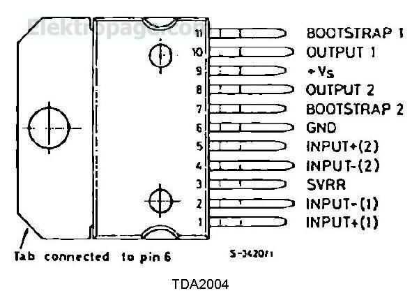 tda2004 pinout connecton diagram 135ZE