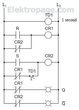 Time delay relay for SR latch