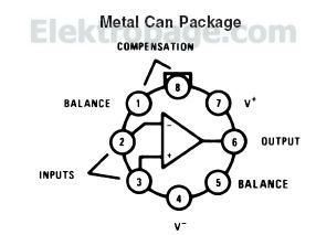 LM101A Connection Diagram Metal Can  Package top