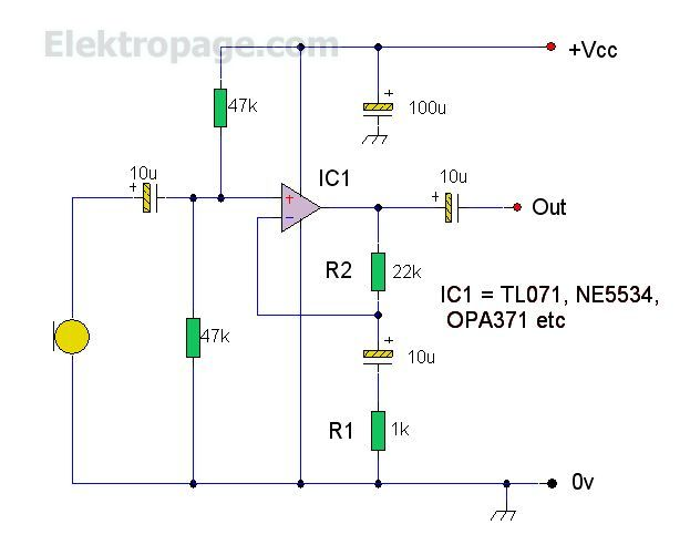 TL071 Op-Amp Microphone Preamp