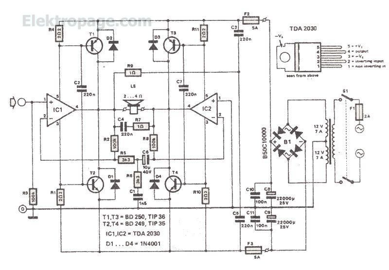 200 watts power amplifier with tda2030 pinout and connection diagram