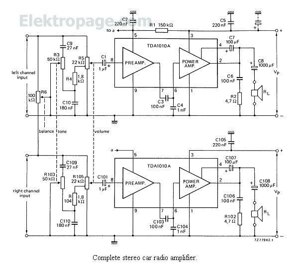6 watt stereo car radio amplifier schematic