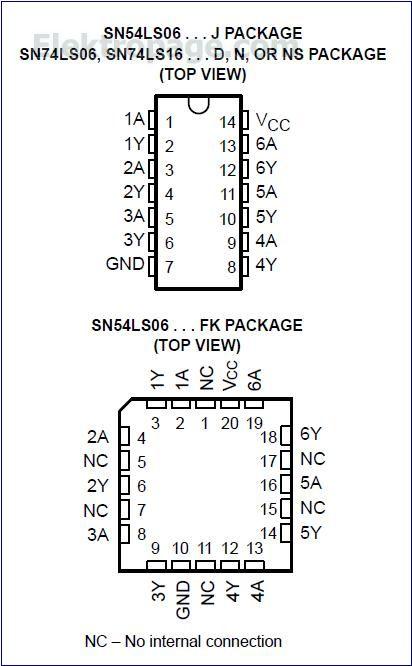 74LS06 IC pinout diagram - Integrated Circuits Elektropage.com