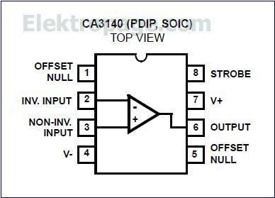 CA3140 pinout diagram