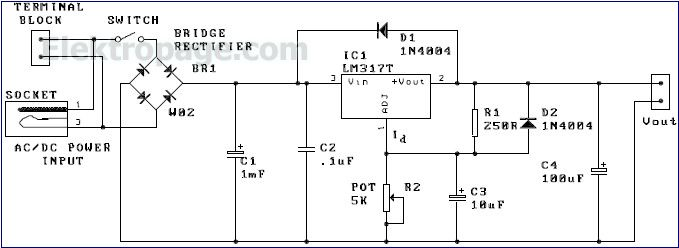 Lm317 Variable Power Supply Circuit On Ac Motor Diagram Dc Power
