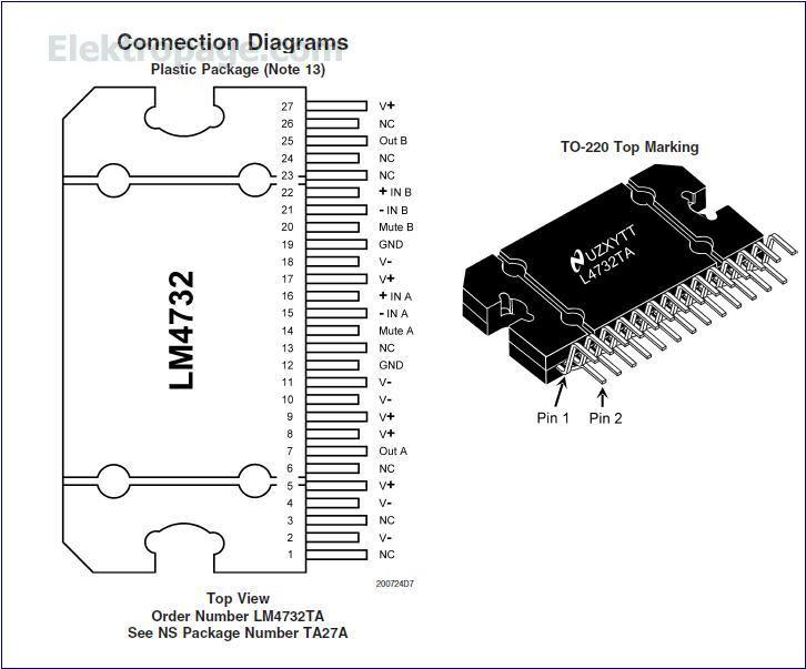 LM4732 IC pinout diagram - Integrated Circuits Elektropage.com