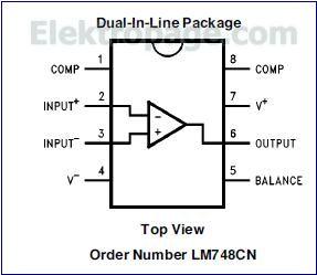 LM748  Pinout diagram
