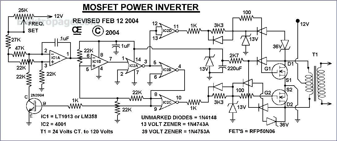 Mosfet Power Inverter Schematic Circuits Elektropage Com