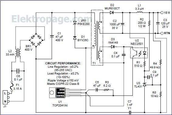 TOP204 15V switching power supply circuit - Schematic ...